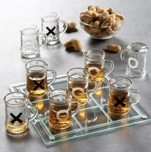 Xs and Os, drinking game edition. Could just use shot glasses on a drawn grid!