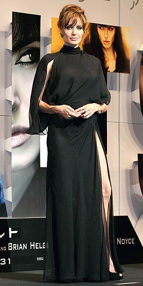 Angelina wearing vintage Versace while in Tokyo, promoting 'Salt' (2010)  -- (photo via people.com)