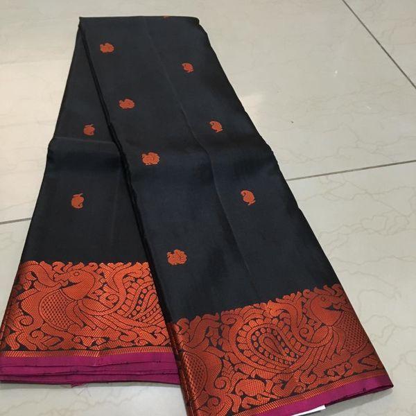 Buy KSS100004-THAMBOORI's Handwoven Pure thread woven kanjeevaram silk-Black orange beauty, 850g online - Handwoven Kanchivarams,Soft Silks, Silk Cottons and Tussars!