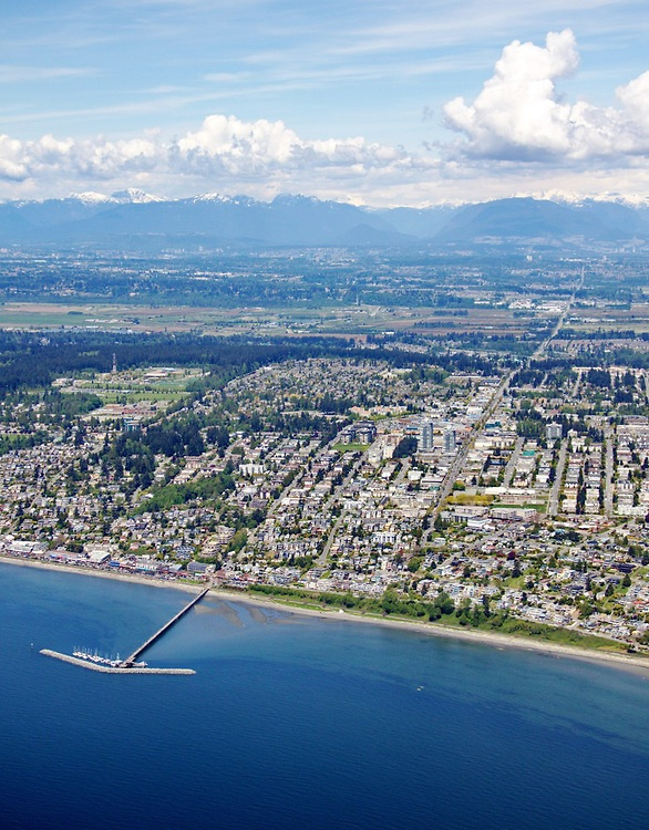 Gorgeous #WhiteRock Aerial Photo - OCEAN VIEWS looking North to the farms of Cloverdale and the North Shore Mountains