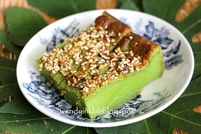 Kuih Bakar Pandan is a dense and rich baked cake, almost like a tropical  clafoutis, but better. Some people do it in a flower shaped...