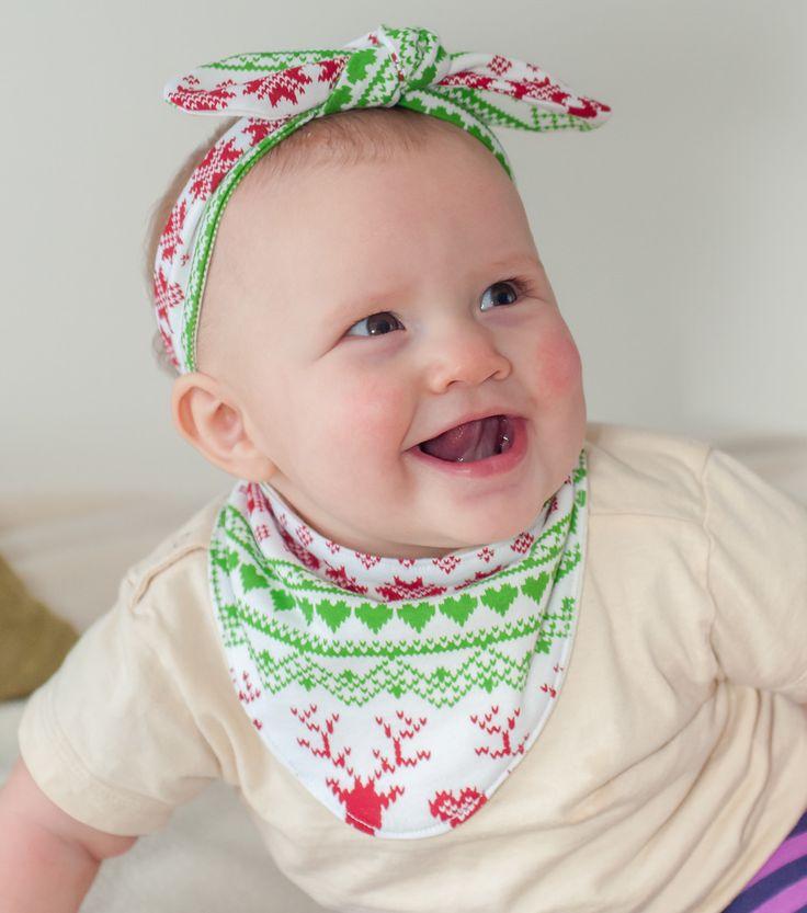 Christmas headbands and Christmas bibs = Christmas baby!