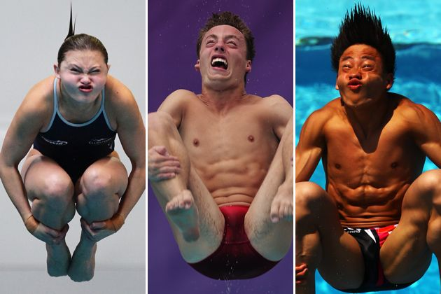 Olympics!  Love watching the amazing diving, but these are hilarious!  I am grateful my school did not have the camera capabilities to catch these pictures!  Olympic diving faces