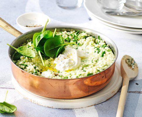 Orzotto agli spinaci con burrata