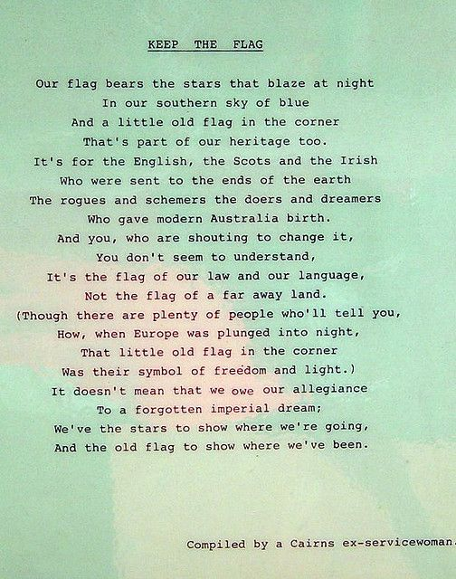 Australian flag poem. Keep the flag. The Australian flag. Beautiful poem for Anzac Day, by an ex-serviceman from Cairns, Queensland Australa.