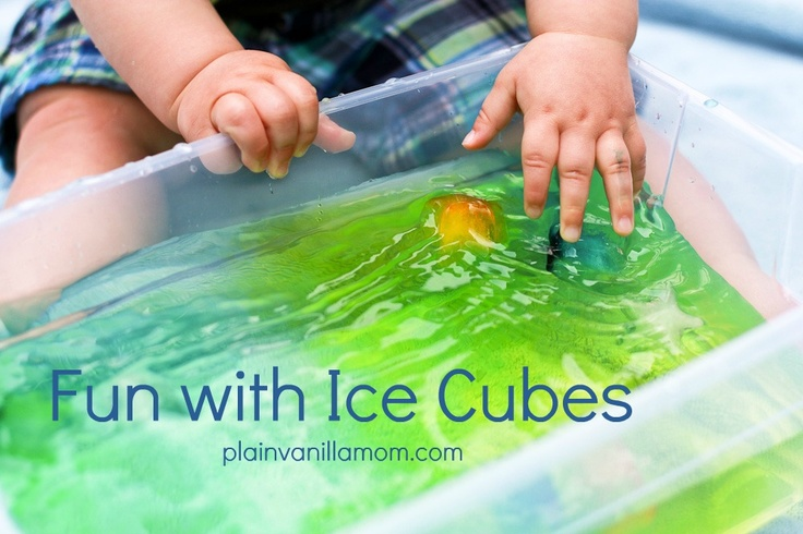 Fun with Ice Cubes - great sensory activity for toddlers! And you can talk about how things are cold, hot, they float, melt, change colors...