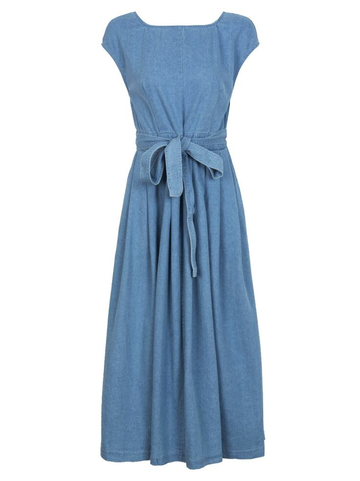 Buy Blue Open Back Bowknot Waist Midi Denim Skater Dress from abaday.com, FREE shipping Worldwide - Fashion Clothing, Latest Street Fashion At Abaday.com