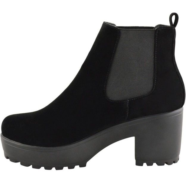 Faux suede black boots with a super chunky heel. | 20 Of The Best Chelsea Boots You Can Get On Amazon