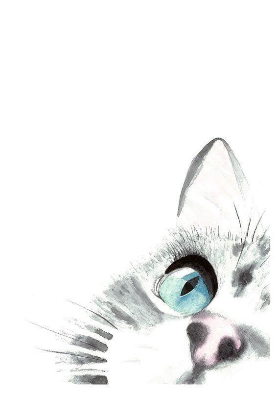 Ein Katzen Fokus Original Aquarell Malerei Kunstdruck, Katze Kunst, Inneneinrichtungen, Wand …