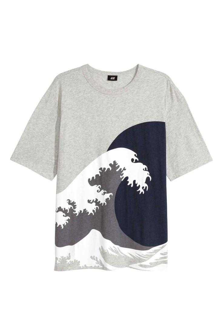 Szeroki T-shirt - Szary - 0456634004