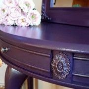 Sometimes the smallest thing makes the biggest impact. The girls of the Crafty Closet uses our flat rose moulding on this piece. The paint is General finishes a customer mix of evening plum and lamp black.