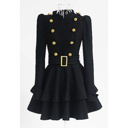$30.45 Vintage Stand Collar Buttons Embellished Long Sleeve Ruffles #Women's #Dress