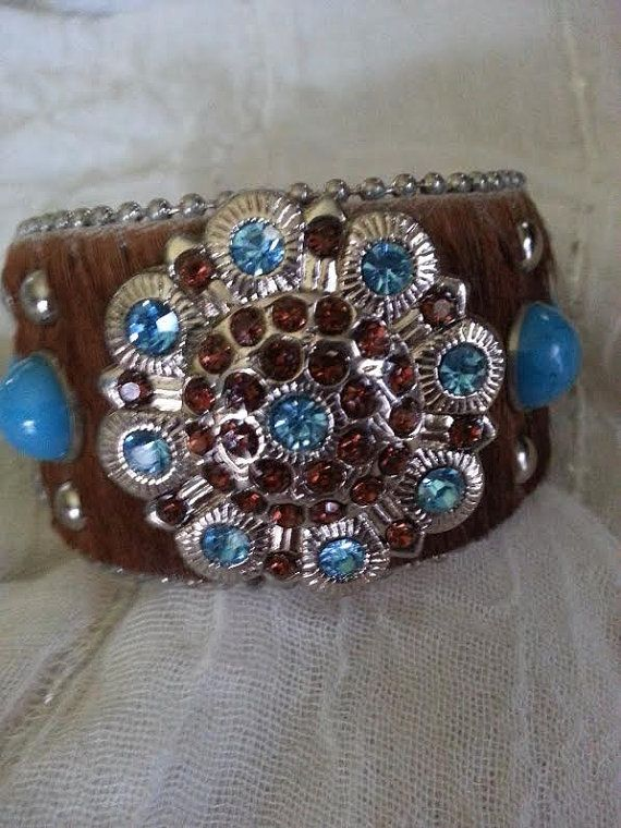 Sale Cow Hide Rhinestone and Turquoise Bangle Bracelet Cowgirl Bling Fashion Jewelry Expiring Soon