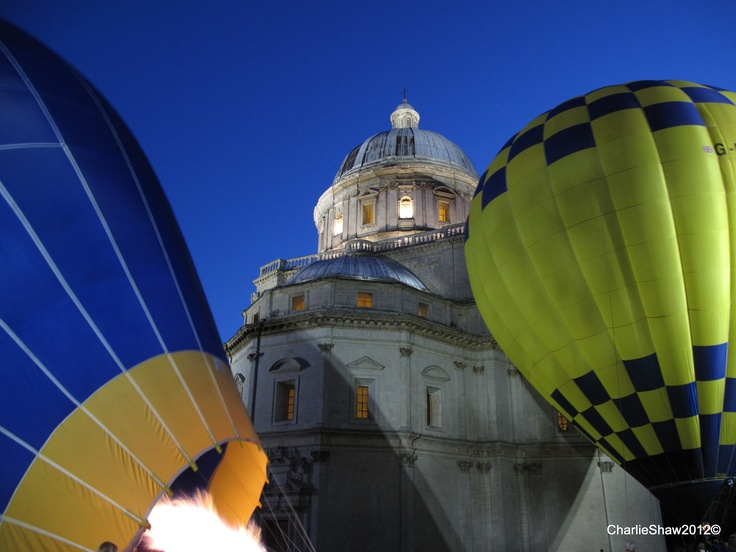 A tethered balloon at the Consolazione - Todi (PG) , Italy.  July 2012