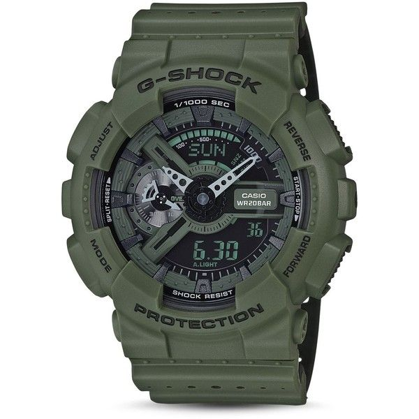 G-Shock Xl Military Ana-Digi Watch, 51.2mm (190 CAD) ❤ liked on Polyvore featuring men's fashion, men's jewelry, men's watches, green, mens military watches, mens analog digital watches and g shock mens watches