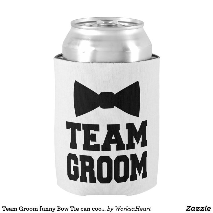 Team Groom funny Bow Tie can cooler