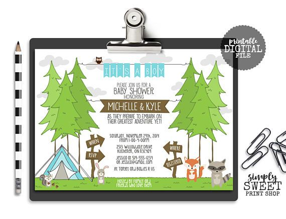 Couple Boy Baby Shower Invitation Great Adventure Tree Tent
