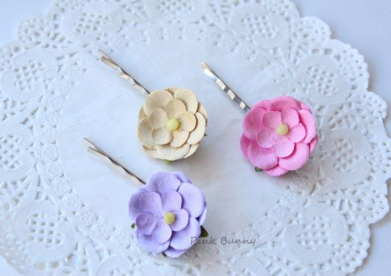 Set of 3 Beautiful Hair Bobby Pins  Bubblegum Pink by PinkkBunnyy, $9.00