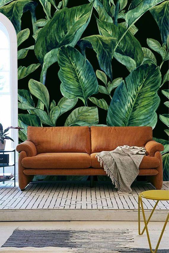 Banana Leaf Wall Mural Banana Leaves Removable Wall Mural Tropical Leaf Wallpaper For Bedroom Green Leaf Peel And Stick Wall Mural Removable Wall Murals Leaf Wallpaper Pattern Wallpaper
