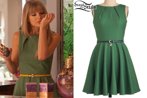 Taylor Swift: Green Dress | Steal Her Style - Taylor Swift shot a commercial at Macy's in a Modcloth Luck Be a Lady Dress ($74.99) but changed the belt to a mustatd coloured one.