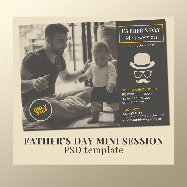 """Father's Day Photography Mini Session /Daddy & Me Photography template / Blog template /7""""x5"""" inches Promotional template by JKBlogBrand on Etsy"""