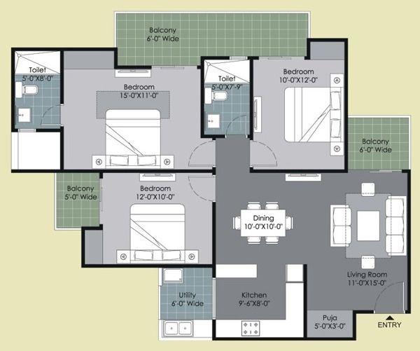 Type B : 3 Bed + 2 Toilet + Puja (1495 sq. ft.)  #Floor plan, #GulshanHomz, #GulshanIkebana #Sector143, #Noida, #NCR, #India