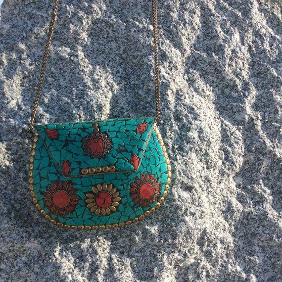 Tibetan+Brass+Bag+Turquoise+and+Coral.+Boho+bag.+Gipsy+by+pasaje