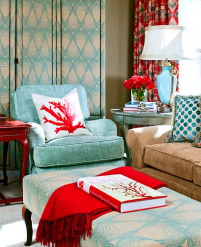 Aqua And Coral Living Room Is For Living Pinterest