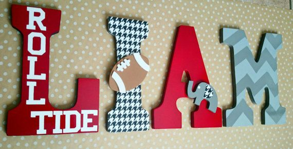 Custom Wood Nursery Letters/ Personalized in by SplendidlySassy- Alabama, Bama, Bama baby, Bama nursery, roll tide