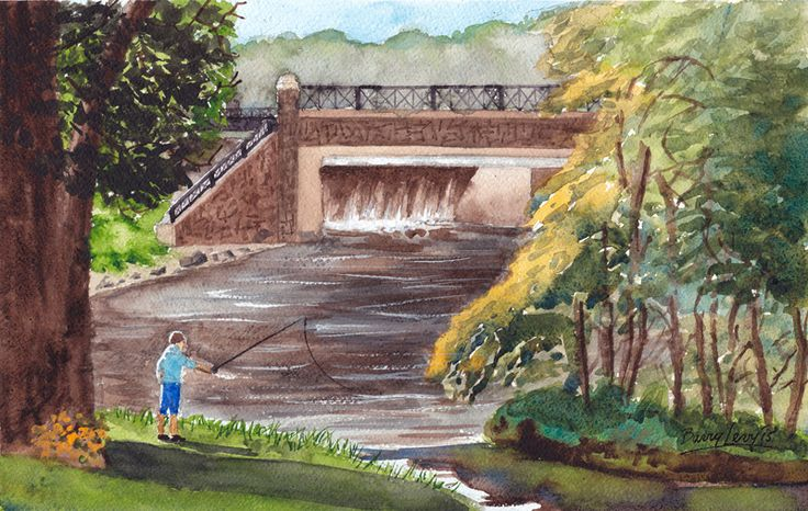 New plein air painting from Barry Levy titled...Sawmill Park Dam. See all of Barry's art at...https://www.etsy.com/shop/BarryMLevy?ref=hdr_shop_menu.