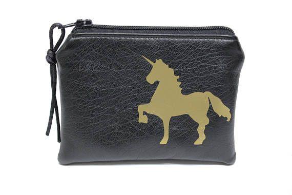 petit porte-monnaie licorne imitation cuir noir et or
