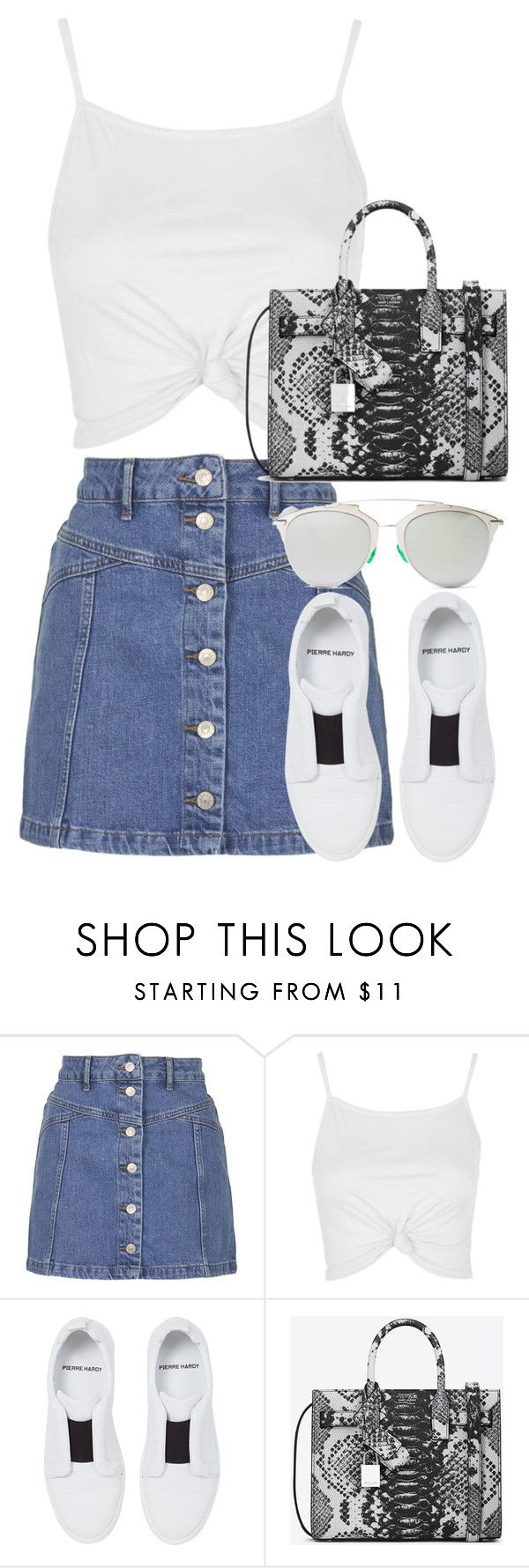 """Untitled #2670"" by elenaday ❤ liked on Polyvore featuring Topshop, Pierre Hardy, Yves Saint Laurent and Christian Dior"