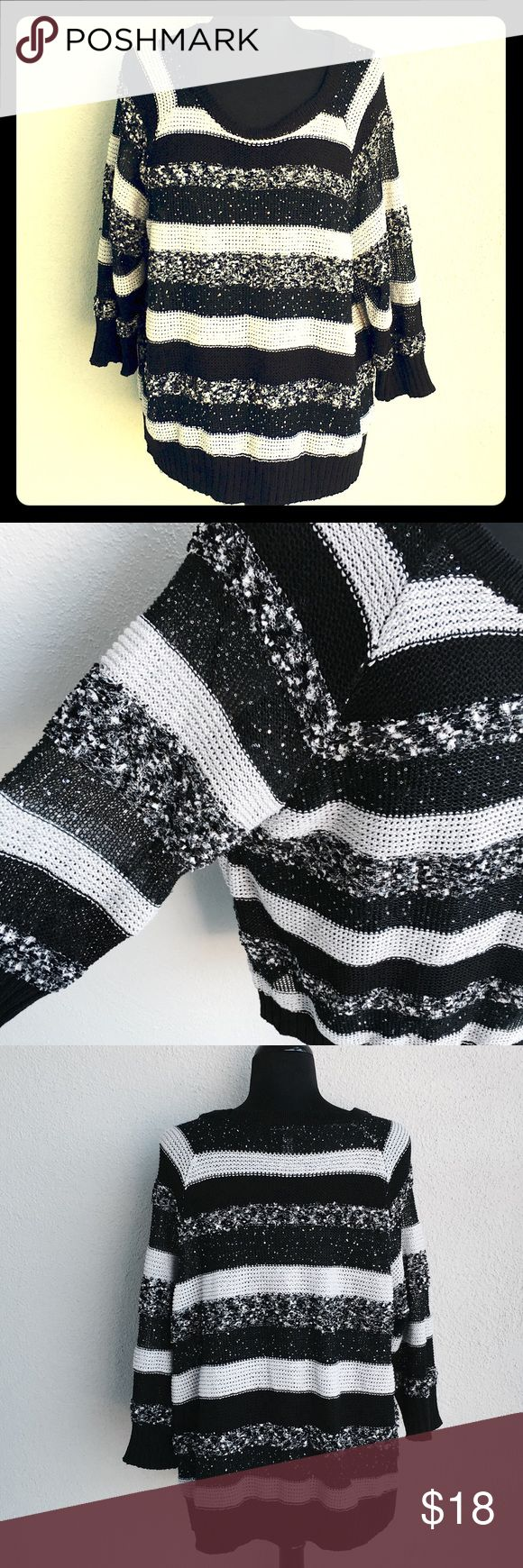 INC Knitted Black Gray Sparkle Blouse Size 3X International Concept INC Blouse Size 3X. Black Gray Sparkle stripes. Material: 48% Polyester, 20% Acrylic, 16% Nylon, 15% Cotton, 1% Other Fiber.        Measurement taken lay flat; Underarm to underarm 25 inches, Length 24 inches. INC International Concepts Tops Blouses