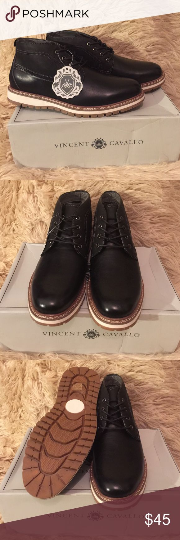 NIB VINCENT CAVALLO black Chukka boots, size 9.5 NIB VINCENT CAVALLO Black Chukka boots sz 9.5.  Ankle height cut.  Herringbone textile lining.  Rubber outsole.  Cushioned footbed.  Fits true to size. Vincent Cavallo Shoes Chukka Boots