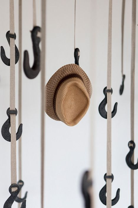 "GRAPPLE HANGING SYSTEM BY RYAN FRANK by Ted Savage / June 6, 2013 Hang your hat on bio-plastic hooks with ""the faintest smell of meado"