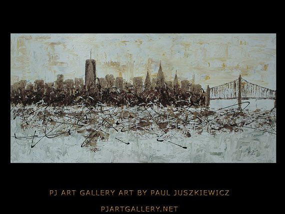 "New York City Scape Knife Abstract by Paul Juszkiewicz 48""x24"" brown cognac Freedom Tower $269"