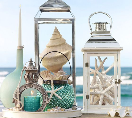 Seaside Pillar Candles   Pottery Barn-Inspiration for my 1/2 bath :)