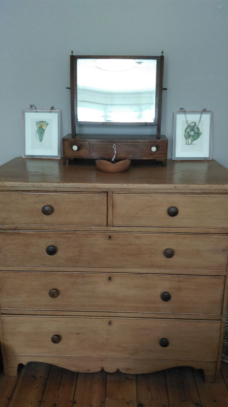 Georgian pine chest of drawers and vanity mirror