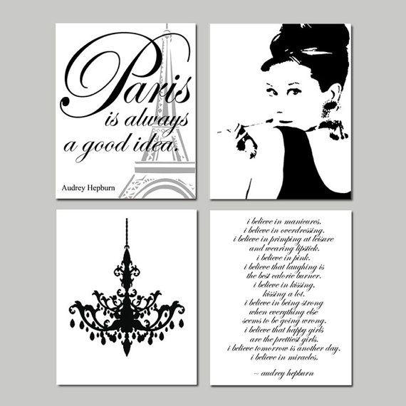 Audrey In Paris - Set of Four 8x10 Prints - Audrey Hepburn, Chandelier, I Believe in Pink, Paris Is Always A Good Idea - Choose Your Colors