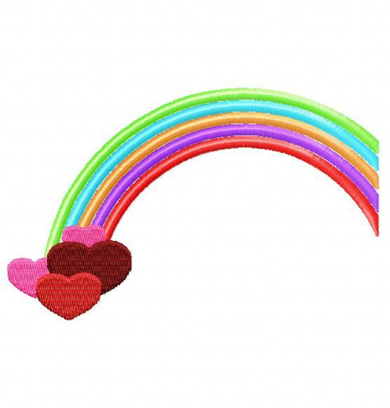 Rainbow with hearts embroiderocean design embroidery