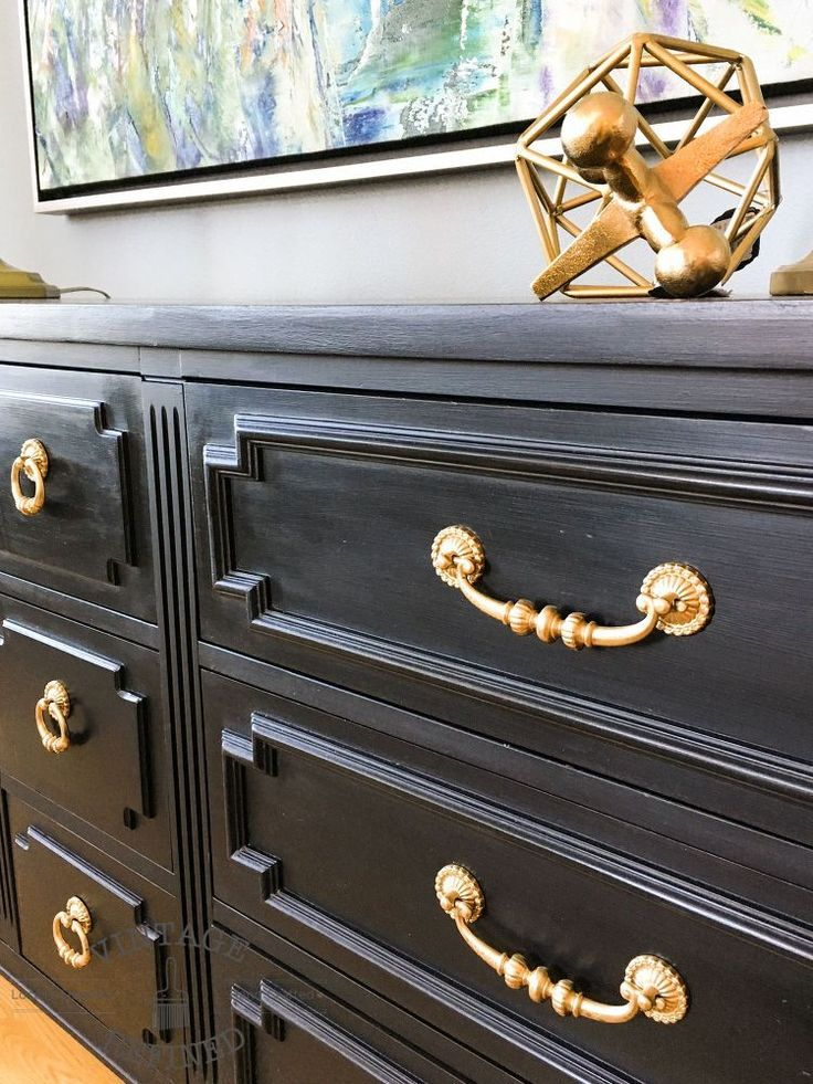 Chic+Black+Painted+Dresser// add gold/bronze hardware to existing black pieces