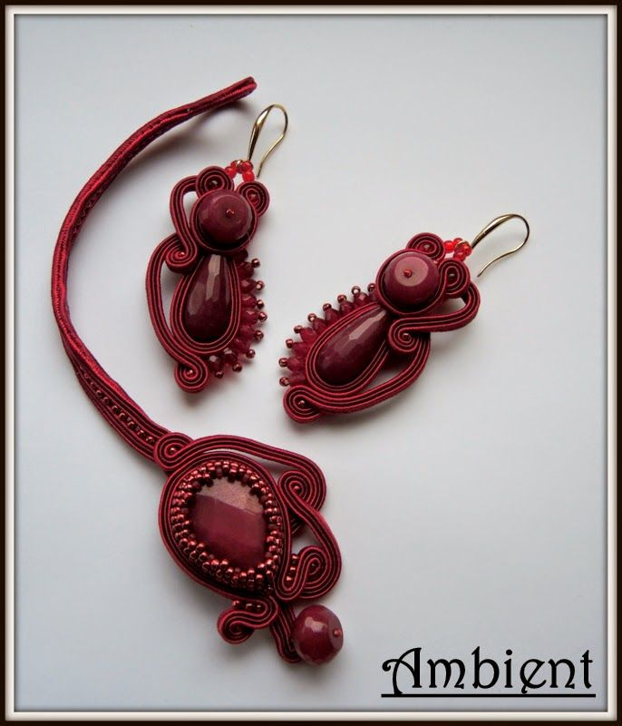 soutache bracelet and earrings http://ambient4you.blogspot.com/2015/02/99-monochromatycznie-czerwien.html