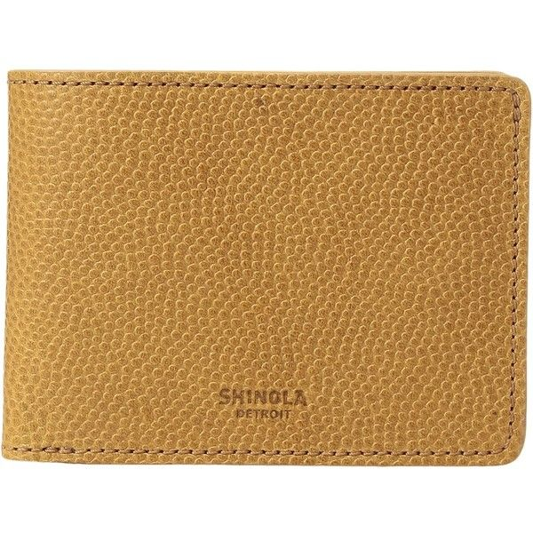 Shinola Detroit Latigo Slim Bifold 2.0 (Camel) Bi-fold Wallet (625 BRL) ❤ liked on Polyvore featuring men's fashion, men's bags, men's wallets and shinola mens wallet