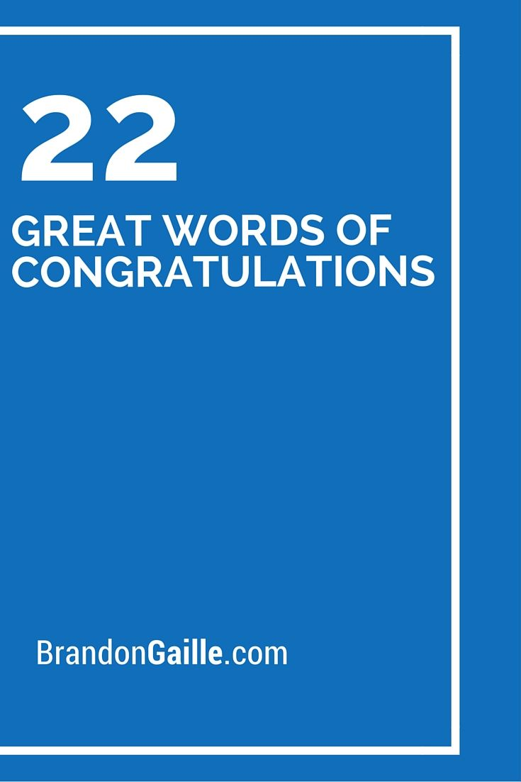 22 Great Words of Congratulations