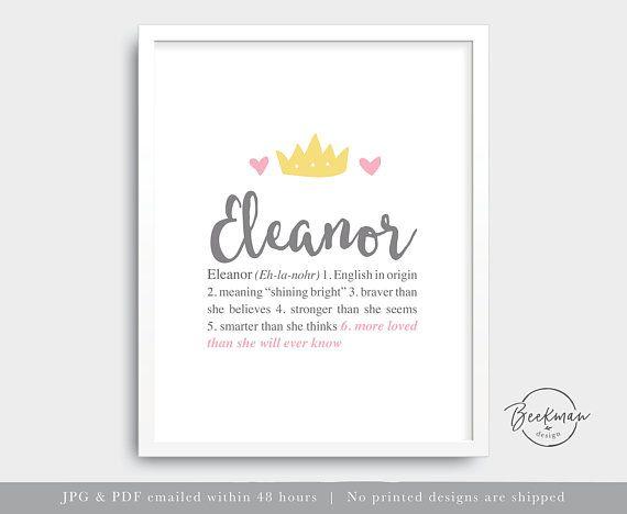 Princess Baby Girl Name Art Printable Crown Nursery Wall Art Etsy Name Wall Art Printed Baby Shower Baby Prints