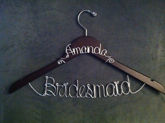 WINTER SALE 15 Off Bridesmaid Hanger WITH Name by croninweddingday, $25.00 fun way to ask them, mail the hangar
