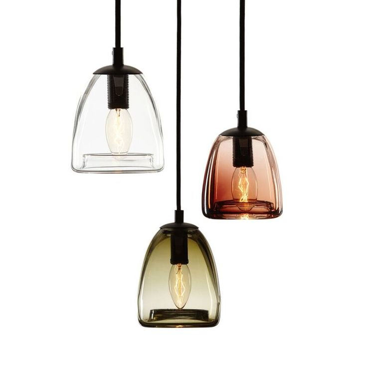 -------BELL-------  Handblown bell shaped glass, suspended by a fine 3mm stainless steel cable. Available in two sizes and eight colours. Transparent or satin frost finish.