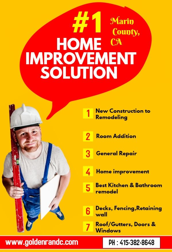 We are a # 1 Solution for Home Improvement in Marin County CA. Golden Restoration and Construction helps you in all of your home improvement needs. We are offering different services including New Construction to Remodeling, Room Addition, General Repair, Home improvement, Bathroom remodel, Kitchen & Bathroom remodel and more. Visit to know more…