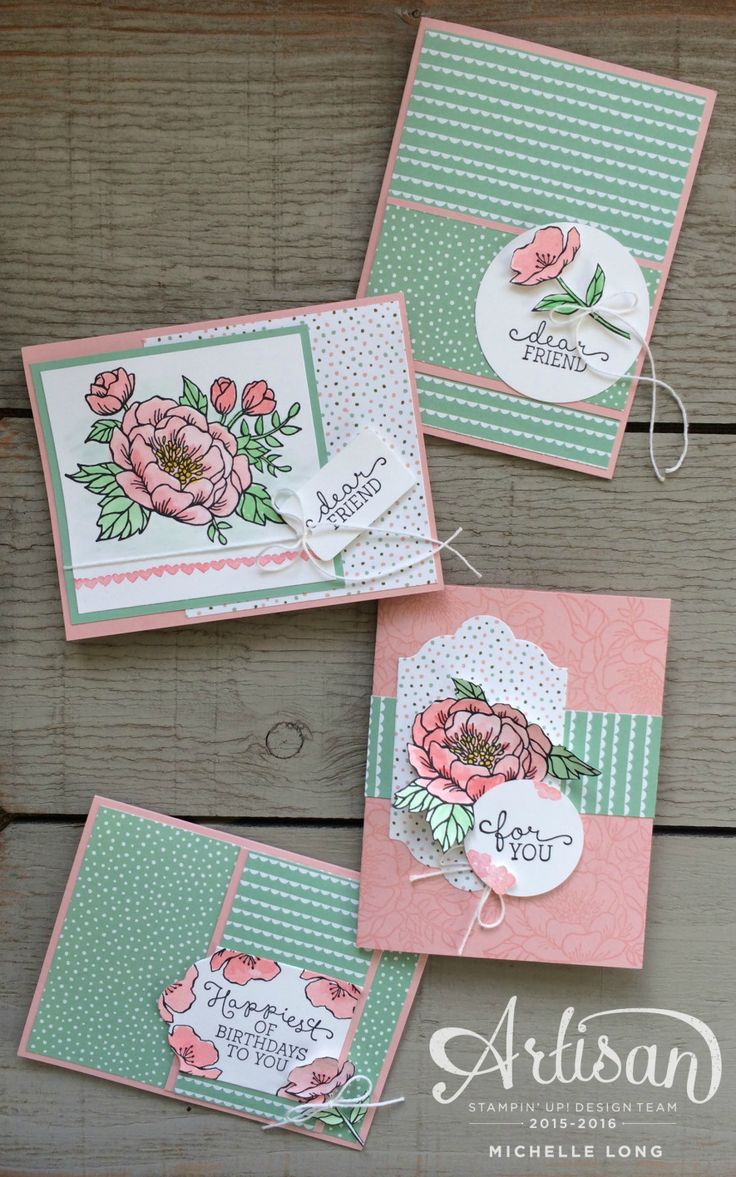 four handmade cards using Birthday Blooms from Stampin365.com ...pink and green ... Stampin' Up!