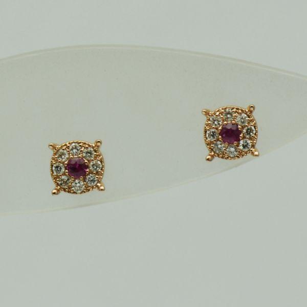 Cercei aur roz cu diamante si rubine